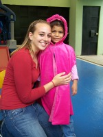 Even though she was all smiles, all day, she didn´t come near enough to me to be touched or hugged until I gave her this princess cape. After that, she´d randomly come up to me and wrap her arms around my legs and squeeze me tight. She loved being a little ¨princesa.¨ Another fun experience we got to share with her was taking her to her first restaurant! Apparently, she wanted to keep washing her hands over and over and over and over again because she had so much fun with the hand drier!