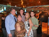 With my family on our Christmas cruise. Nate didn't just cut my hair this time; he dyed it!