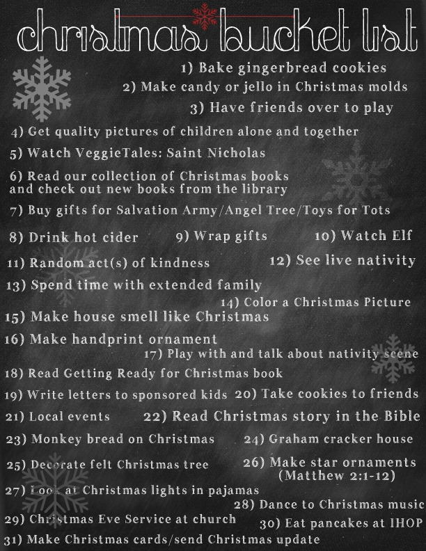 Christmas Bucket List (free printable and more ideas in post)